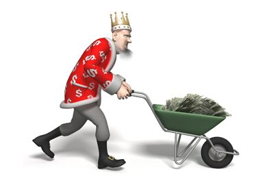The Football King is transporting a large quantity of money in a wheelbarrow.