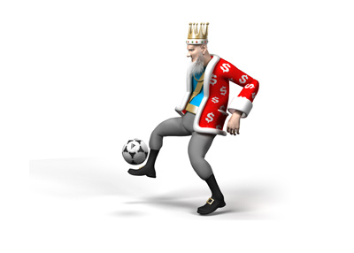 The King is juggling the ball with his right foot.