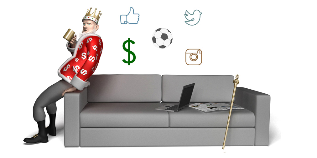 The King is drinking coffee and discussing the valuations of social media accounts in the sport of football