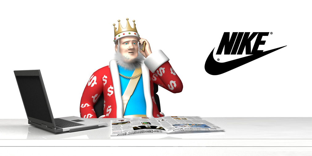 The Football King is on his golden phone, receiving the news of new sponsorship deals between Nike, Barcelona FC and Chelsea FC