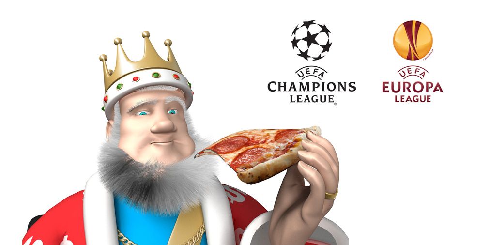The King is enjoying a slice of pizza while discussing the semi-final matches of the 2015/16 UEFA Champions League and UEFA Europa League