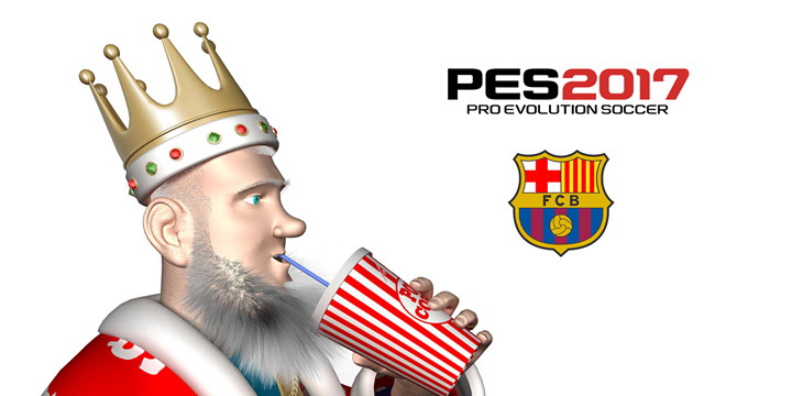 The King is having a sip of coke from a paper cup while pondering the Konami PES 2017 release and their new partnership with Barcelona FC