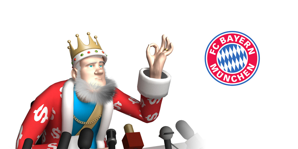 The King is doing a press conference on the latest signings for Bayern Munich Football Club. The King approves