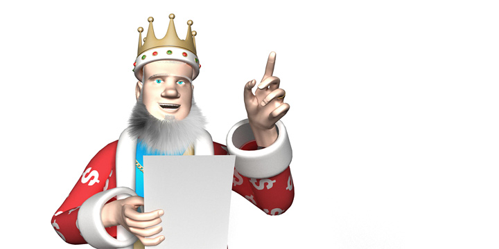 The King is pointing up towards the article that talkes about the 2016 Major League Soccer team valuations