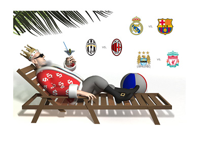 The King is relaxing and enjoying the Saturday games - Juventus vs. Milan, Real Madrid vs. Barcelona, Manchester City vs. Liverpool