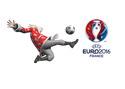 The Football King is in the middle of a scissor kick next to the EURO 2016 tournament logo