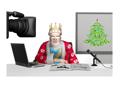 The King is reporting on the action taking places during the holidays.  Studio shot.