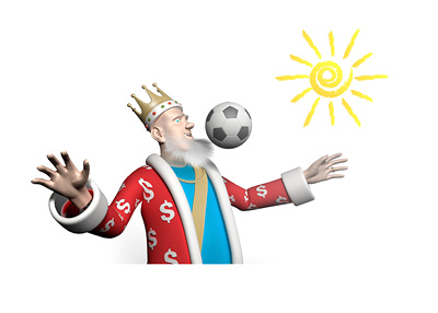 The Football King is receiving the ball on his chest with the sun blazing in the background.  The report on the football events during the summer of 2015