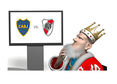 The King is watching the El Superclasico - Boca Juniors vs. River Plate - Shaking his head and scratching his beard