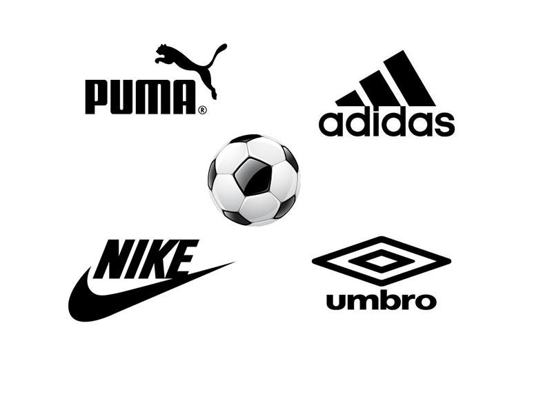 Football Kit Manufacturers - Logos - Puma, Adidas, Umbro and Nike - Black and White