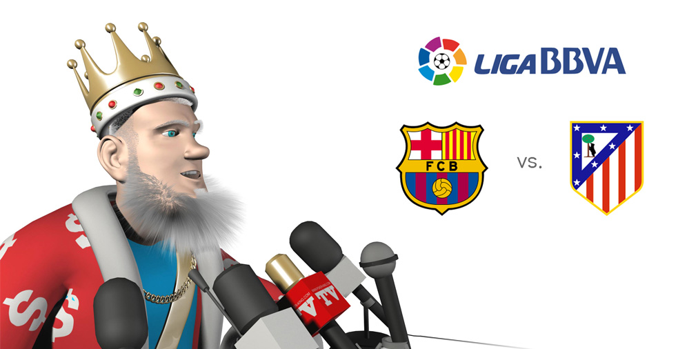 The Football King presents the upcoming match between Barcelona and Atletico Madrid.  Live feed from the news conference.