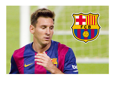 Lionel Messi next to the goal post - 2014/15 Season - Barcelona FC logo