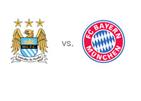 Manchester City vs. Bayern - UEFA Champions League Matchup - Team Logos