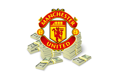 The Manchester United logo sitting on a pile of cash. Illustration / concept