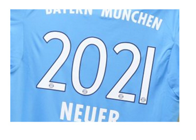 Manuel Neuer Bayern Munich jersey with 2021 on the back symbolizing the signing of contract extension in April of 2016
