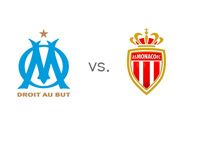 Olympique de Marseills vs. Monaco AS - French Ligue 1 Matchup - Team Logos