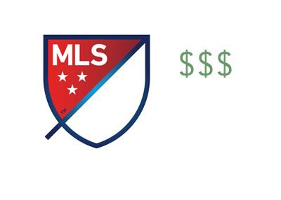 The 2016 Major League Soccer logo next to three dollar signs - Concept
