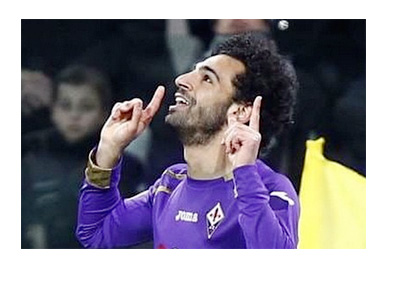 Mohamed Salah after scoring vs. Juventus for ACF Fiorentina - March 2015 - Photo