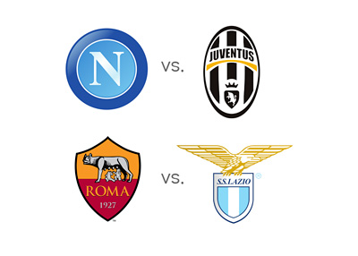 Game Previews - Napoli vs. Juventus and AS Roma vs. Lazio - Odds, Matchups and Favourites - Team Logos / Crests / Badges - Italian Serie A - Calcio