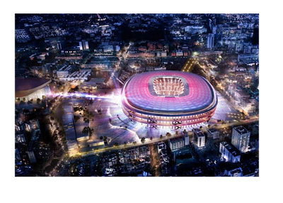 The rendering of the New Camp Nou winning proposal. March 2016