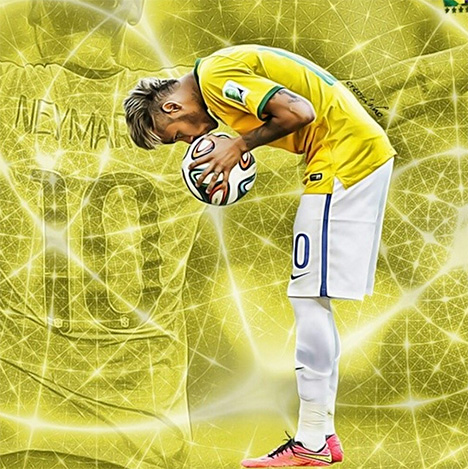 Neymar Junior kissing the official 2014 FIFA World Cup Ball - Brazuca - Art Piece