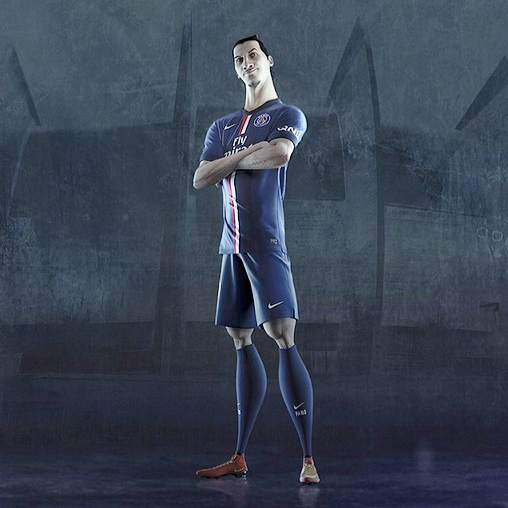 Nike ad campaign - riskeverything - Zlatan Ibrahimovic in 3d - Paris Saint-Germain PSG blue kit