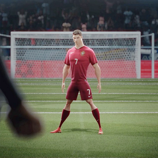 Nike ad campaign - riskeverything - Cristiano Ronaldo in 3d - Portugal red World Cup kit