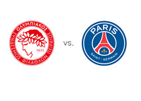 Olympiacos vs. Paris Saint-Germain (PSG) - UEFA Champions League Matchup - Team Logos