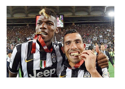 Paul Pogba and Carlos Tevez - Copa Italia 2015 Celebration - Chewing on Gold Medals - Photo - Pogba Instagram Account