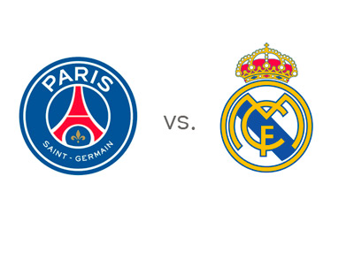 Paris Saint-Germain (PSG) vs. Real Madrid - Team Logos - Matchup