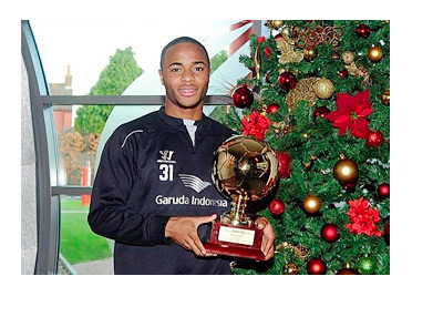 Raheem Sterling Instagram photo with Golden Boy 2014 award - Next to a xmas tree