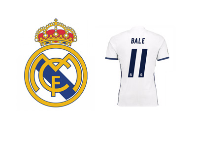 The Real Madrid logo next to the Gareth Bale #11 jersey - Season 2016/17 - Home - White