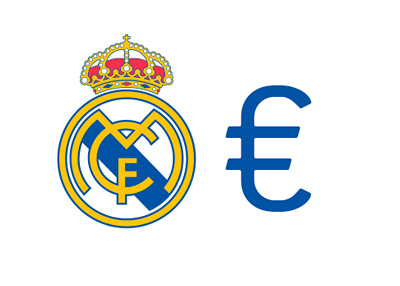 Real Madrid logo next to the Euro symbol - Illustration - Concept