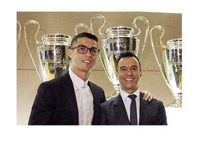 Cristiano Ronaldo and his agent Jorge Mendes after signing a contract extension with Real Madrud until year 2021.  Social media photo.