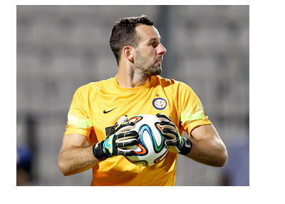 Samir Handanovic in Inter Milan Yellow Jersey - About to throw the Brazuca ball