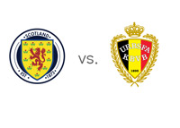 Scotland vs. Belgium Matchup and Football Jersey Badges