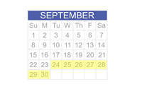 September 2013 Calendar - 23 - 30th Highlighted