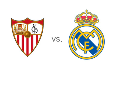 Spanish La Liga Matchup - Sevilla FC vs. Real Madrid - Team Logos / Crests