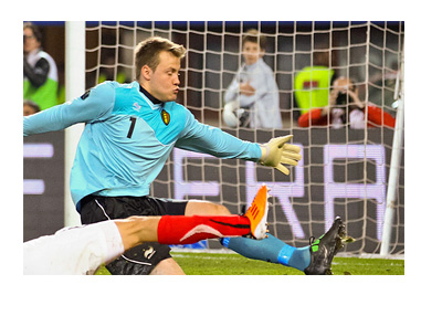 Simon Mignolet - Liverpool FC and Belgium National Team Keeper - in Action vs. Austria