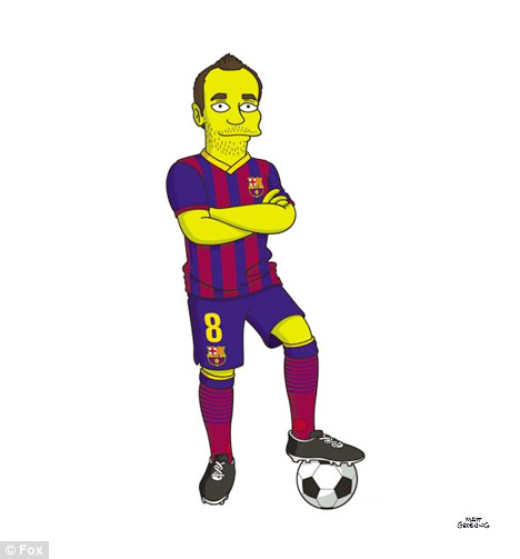 Andres Iniesta from Barcelona FC as a Simpson Character