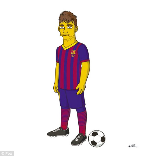 Neymar Junior from Barcelona FC as a Simpson Character