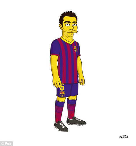 Xavi from Barcelona FC as a Simpson Character