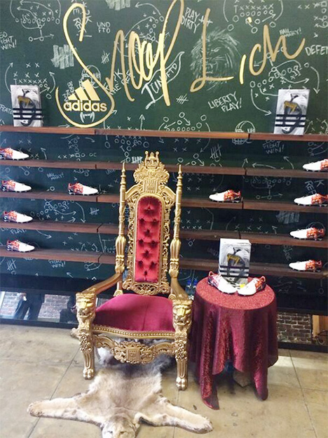 Snoop Lion Throne at Adidas cleat unveiling - Undefeated - Los Angeles