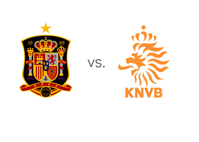 Spain vs. Holland (Netherlands) - World Cup Matchup - National Team Logos / Crests / Badges