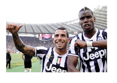 Carlos Tevez and Pogba celebrate a Juventus Victory - 2014/15 season - Photo: Carlos Tevez Instagram Account