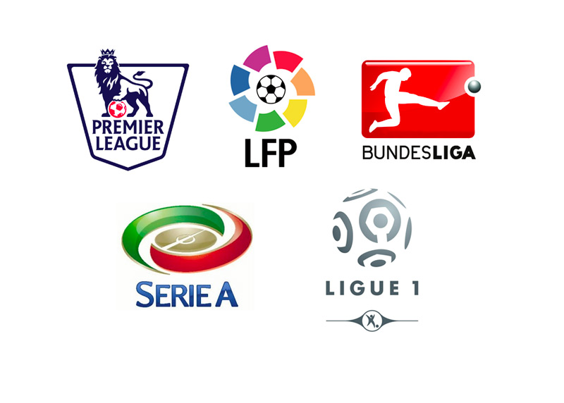 Top 5 European Football Leagues - Logos - EPL, La Liga, Bundesliga, Serie-A and Ligue 1
