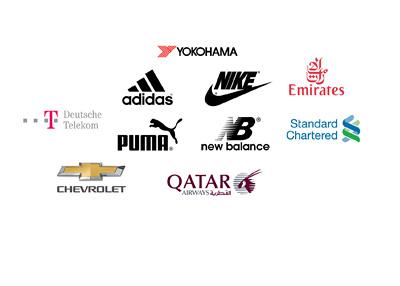 Top sponsors in Euro football - Season 2016/17 - Adidas, Nike, Puma, Etihad, Quatar Air, Yokohama Tires, Standard Chartered etc.