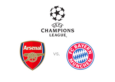 The UEFA Champions League matchup - Arsenal FC vs. Bayern Munich - Tournament logo, team badges, preview and odds