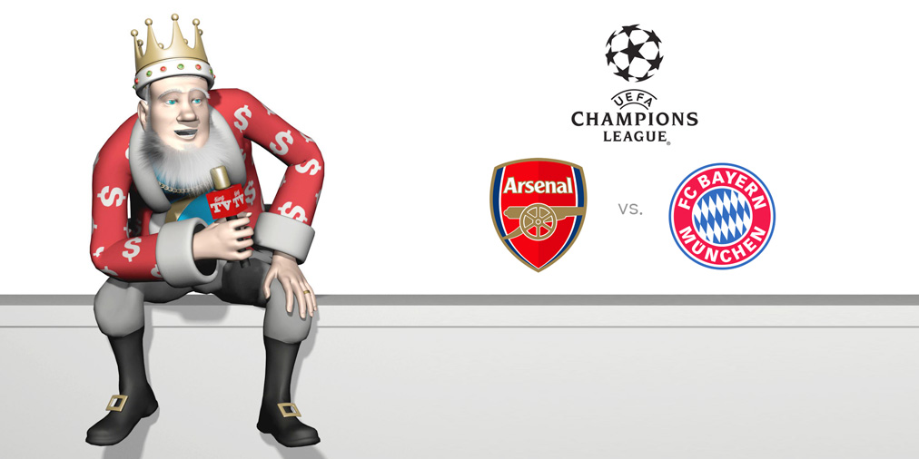 The King is presenting a huge Champions League matchup between Arsenal FC and Bayern Munich - The kick-off is at 7:45pm local time