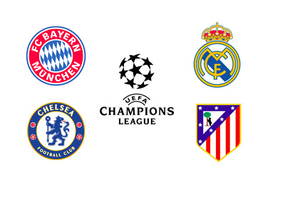 The UEFA Champions League Logo - Bayern Munich, Real Madrid, Atletico Madrid and Chelsea FC - Team Crests / Badges
